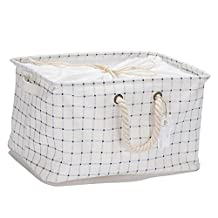 "Sea Team Collapsible Square Grey-blue Checked 100% Natural Linen & Cotton Fabric Storage Bins Storage Baskets Organizers with Dustproof Drawstring Lid for Shelves Cabinets Chests, 15"" x 10"" White"