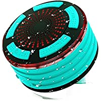 Bluetooth Speakers, Protmex IP67 Waterproof Wireless Bluetooth 4.0 Speakers with HD Sound Bass, Built-in Mic, FM Radio and Color LED Lights, Perfect for Beach, Pool, Kitchen & Home (Light Blue)