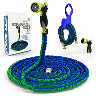 [#1 Rated 50 Ft. Expandable Hose] Powerful, Portable & Proven to Last! Deluxe Expanding Garden Hose Kit: Green and Blue Double Latex KinkProof Hose, Brass Fittings, 8-Function Nozzle & Bonus Wall Hook