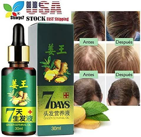 Hair Regrow 7 Day, STCORPS7 Ginger Germinal Essential Oil Hair Growth Hair Loss Treatment Hair Care Hair Growth Serum for Men & Women 30ml