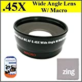 58mm 0.45x Wide Angle Lens with Macro for CANON VIXIA HFS20 HFS200 HFS21 HFS30\xa0 CAMCORDERS+ MicroFiber Cleaning Cloth + LCD Screen Protectors