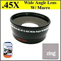 72mm 0.45x Wide Angle Lens with Macro for Sony HXR-NX5U NXCAM Digital HD + MicroFiber Cleaning Cloth + LCD Screen Protectors