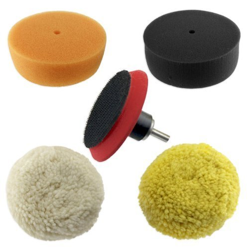 Juego de 5 almohadillas de pulido y pulido de 3 para automóviles - Convierta su taladro en pulidora eléctrica - Almohadillas de espuma y lana - Almohadilla de respaldo con gancho y bucle con adaptador