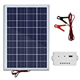 ECO-WORTHY 20W 12V Solar Panel Kit: 20 Watt Polycrystalline Solar Panel & Battery Clips & 3A Charge Controller for Battery Charging