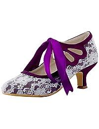 ElegantPark HC1521 Women Mary Jane Mid Heel Satin Pumps Cut-Out Closed Toe Lace Wedding Bridal Shoes