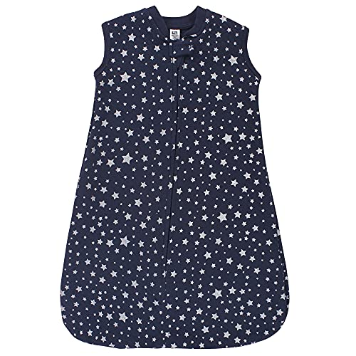 Hudson Baby Unisex Baby Premium Quilted Sleeveless Sleeping Bag and Wearable Blanket, Metallic Stars, 0-6 Months
