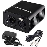 Suministro de energía fantasmal InnoGear 1, canal 48V, con cable XLR de 10pies y adaptador para cualquier equipo de grabación con micrófono de condensador