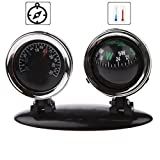Fansport Car Compass Navigation Ball 2 in 1 Universal Mini Vehicle Compass with Thermometer