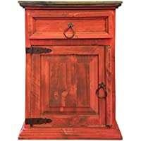 Handscrape Rustic Western Country Nightstand End Table Already Assembled (Left Hinged, Red)