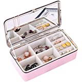 Efantur Jewelry Box for Girls Faux Leather Jewelry Travel Case Organizer Protable Lint Storage Display Case with Large Mirror and Lock Dividers Inside Rectangular Small Pink
