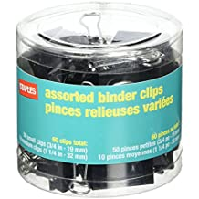 STPL Staples Binder Clips, Assorted Sizes, Black, 60-Pack