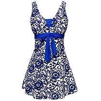 Wantdo Womens One-Piece Swimsuit Oriental Porcelain Slimming Swimdress