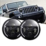 Ricoy DOT Aprobado 7 pulgadas 150 W LED Proyector Faro Hi/Lo Beam con DRL para Jeep Wrangler JK TJ LJ CJ Land Rover 90/110 Davidson Motocicleta (Pack de 2), 40W Jeep Headlight With Halo Ring