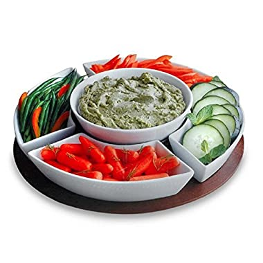 7 Piece Multipurpose Round Lazy Susan Style Serving Bowls and Tray