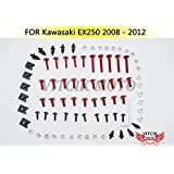 VITCIK Full Fairings Bolt Screw Kits for Kawasaki EX250R Ninja 250 EX-250R ZX250R 2008 2009 2010 2011 2012 Motorcycle Fastener CNC Aluminium Clips (Red & Silver)