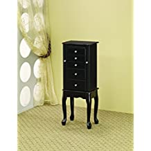 Coaster 900139 Jewelry Armoire with Flip-Top Mirror, Black