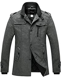 Mens Wool Blend Pea Coat Single Breasted Thicken Warm Military Peacoat Jacket