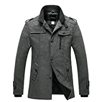 Wantdo Mens Wool Blend Jacket Stand Collar Windproof Pea Coat