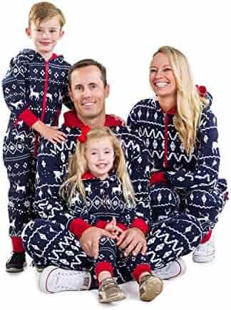 3a47a7da7e Matching Family Christmas Pajamas - Red and Blue One Piece Xmas PJ s