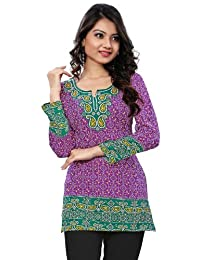 Long India Tunic Top Womens Kurti Printed Blouse Indian Clothing