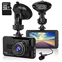 ULU 1080P Dash Cam Front + VGA Rear 290° Super Wide Angle Car DVR Dashboard Camera Recorder with 16GB Card , 3 Inch Screen, G-Sensor, WDR, Loop Recording, Motion Detection,Car Black Box