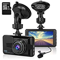 ULU 1080P Dash Cam Front + VGA Rear 290° Super Wide Angle Car DVR Dashboard Camera Recorder with 16GB Card , 3 Inch Screen, G-Sensor, WDR, Loop Recording, Motion Detection,Car Black Box