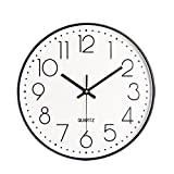 Foxtop 12 inch Large Modern Non-Ticking Silent Quartz Decorative Elegant Wall Clock for Office Decor Simple Style (White)
