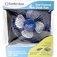 The C Zone 4 Dual Powered High Velocity Fan Electric & USB All Metal 4 Blade Construction (Blue)