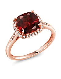 2.74 Ct Cushion Red Garnet 10K Rose Gold Ring with Diamond Accent (Available in size 5,6,7,8,9)