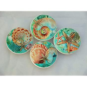 ceramic cabinet knobs flowers set nautilus seashell blue ebay hardware pulls