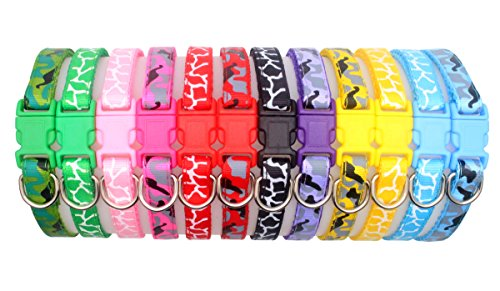 YOY 12 pcs/set Soft Nylon Puppy Whelping ID Collars - Adjustable Reusable Washable Baby Dog ID Bands Pet Identification for Breeders, Neck 8