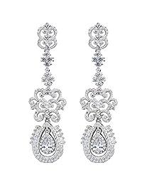 Ever Faith 925 Sterling Silver Cubic Zirconia Vintage Style Art Deco Tear Drop Chandelier Earrings Clear