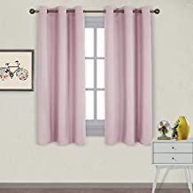 NICETOWN Grommet Blackout Curtain Panels - Nursery Essential Thermal Insulated Solid Drapes (1 Pair,42 x 63 Inch in Baby Pink)