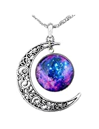 FANSING Jewelry Easter Day Gift Galaxy Necklace Crescent Star Galactic Cosmic Moon Charm Necklaces for Womens & Girls