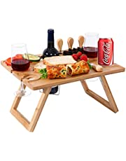 Ollieroo Portable Wine Picnic Table, Foldable Bamboo Snack Table with Wine Bottle and Glass Holder for 2 or 4