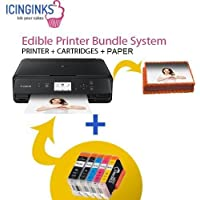 Latest Canon Edible Printer Bundle Package - 50 Edible Sheets,Refillable Edible Cartridges, Free Image Designing Lifetime, Cake Printer, Edible Image Printer By Icinginks