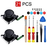2-Pack 3D Joycon Joystick Replacement,ABLEWE Analog Thumb Stick Joy Con Repair Kit for Nintendo Switch, Include Tri-Wing, Cross Screwdriver, Pry Tools + 6 Thumbstick Caps+1 Brush