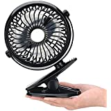 Clip Fan, Portable USB Rechargeable Battery Operated Mini Desk Small Personal Fan Strong Wind, Quiet, 360° Rotation (1, Black)