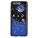 for Huawei P10 Lite TPU Case Cover, CrazyLemon Clear 3D Painted Pattern Embossing Design Cute Varnish Technology Soft TPU Silicone Gel Rubber Skin Ultra Thin Scratch Resistant Shell Protective Cover Case for huawei p10 lite - Black Blue Planet