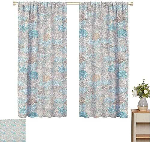 June Gissing Nautical Insulated Blackout Curtain Pastel Toned Sea Shell Starfish Mollusk Seahorse Coral Reef Motif Design Curtain Doorway W55 x L63 Tan Turquoise White