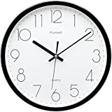 Plumeet 12-Inch Non-Ticking Silent Wall Clock with Modern and Nice Design for Living Room Large Kitchen Wall Clock Battery Operated (Black)
