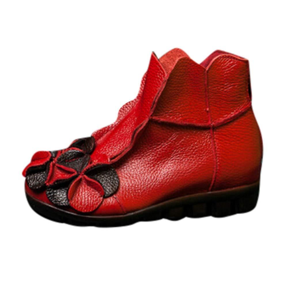 Qiusa damen handgenähte Blaumen Schuhe ethnischen Stil Martin Stiefel Leder Casual Stiefel (Farbe   Rot Größe   4 UK)