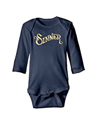 Kids Baby Sinner Gold Logo Romper Jumpsuit Navy