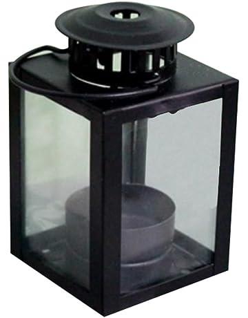 MoGist Candelabro Continental Cuadrada Vidrio Resistente al Viento Hierro de Vela Candelabro Home Decoration Boda Mesa