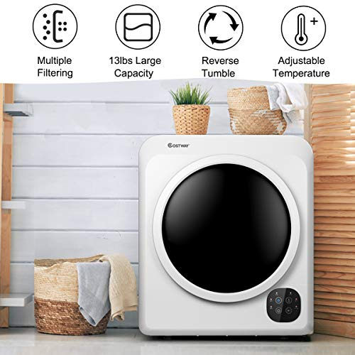 13LBS Electric Compact Clothes Dryer 1500W Portable Tumble Laundry Dryer with Stainless Steel Tub 7 Drying Modes White Easy Control Knob