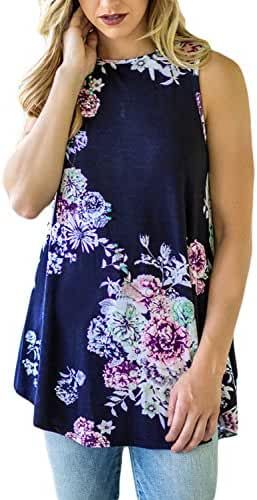 Dokotoo Womens Summer Casual Floral Print Sleeveless Loose Tank Blouses and Tops