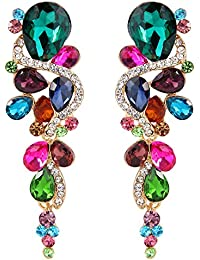Women's Bohemian Boho Crystal Wedding Bridal Multiple Teardrop Chandelier Long Dangle Earrings