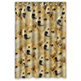 Fashion Funny Dog Face Picture Shower Curtain 100 Polyester Waterproof Fabric 48x72 Inches Rings Included