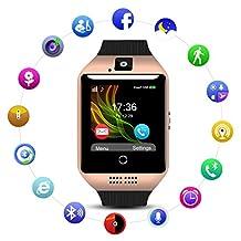 QIMAOO Q18 Smart Watch Smartwatch Sports Fitness Tracker Bluetooth Wrist Watch with Camera TF/SIM Card Slot Sweatproof Phone for Men Women Kids Girls Boys