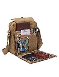 NOTAG Messenger Bag para Hombres, Canvas clásico Crossbody Bag Bolso de Mano con Correa Ajustable multifunción para Deporte al Aire última intervensión Bolsa de Hombro Casual Bolsa Antirrobo, Dorado